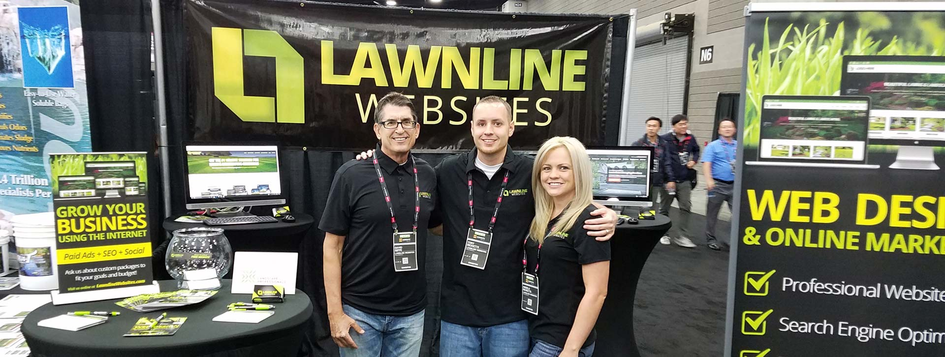 Tony, Angela, & David of Lawnline Websites at GIE+Expo in Louisville, KY.