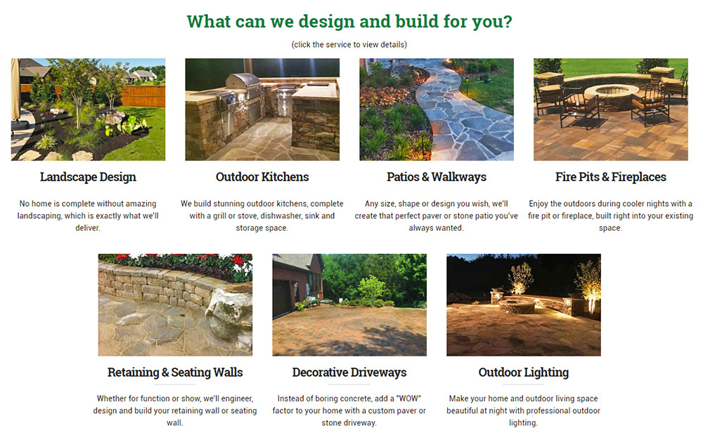 Screenshot: Hardscape design and build services on client website.