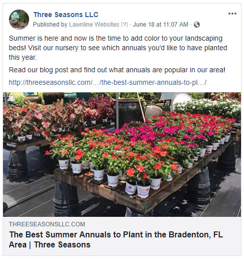 Screenshot: Facebook post for nursery about annual flowers.