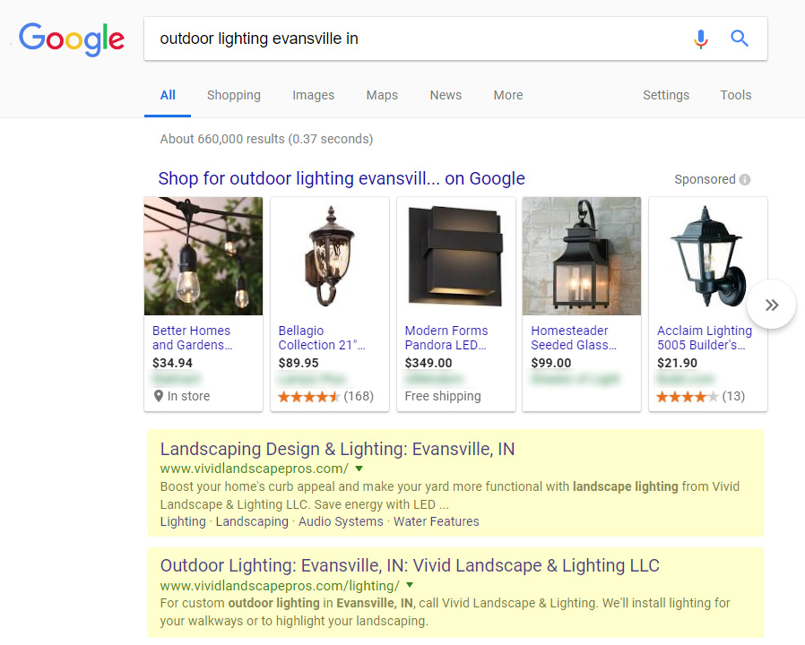 Screenshot: Organic Google rankings for an outdoor landscape lighting company.