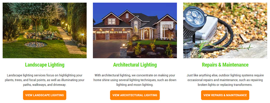 Screenshot: Outdoor lighting services on website page.