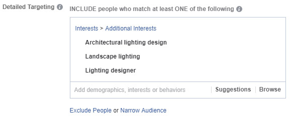 Screenshot: Targeting landscape lighting interests on Facebook.